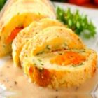 Картофельный рулет с морковью и творогом
